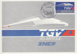 Carte Maximum  1er  Jour   TGV  ATLANTIQUE     NANTES    1989 - Cartes-Maximum
