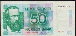 1987 NORWAY NOREGS BANK 50 FEMTI KRONER NOTE IN A NICE COLLECTIBLE GRADE - Norvegia