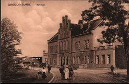 ! Alte Ansichtskarte Quedlinburg, Bahnhof, 1916 - Quedlinburg