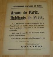 AFFICHE ORIGINALE - GUERRE 14 - 18 -  ARMEE DE PARIS - HABITANTS DE PARIS - SEPTEMBRE 1914 - GALLINEI - 1914-18