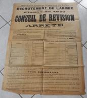 AFFICHE ORIGINALE - GUERRE 14-18 - CONSEIL DE REVISION  CLASSE 1917 - RECRUTEMENT DE L'ARMEE - 1914-18