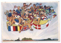 Carte Illustrée Joubert Scouts Scoutismes Jamborée De La Paix De 1947 Format 15 Cm X 10,5 Cm Timbre Et Flamme Au Dos - Movimiento Scout