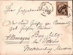 ! 1876 Schöner Adelsbrief Aus Cannes An Frau Gräfin Von Bassewitz Auf Burg Schlitz Bei Teterow Mecklenburg-Schwerin - Mecklenburg-Schwerin