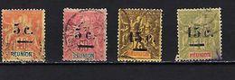 """Reunion YT 52 à 55 """" Série Complète """" 1901 Oblitérés - Réunion (1852-1975)"""