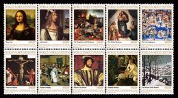 CENTRAL AFRICA 2017 - Paintings VI: Leonardo, Durer, Bosch, Raphael, Michelangelo, Grunewald, Bruegel, Tintoretto. Offic - Art