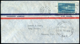 1931 Flight Cover Habana Cuba Air Cover To Dinuba California USA CENSORSHIP - Airmail
