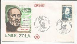 FDC 1967 EMILE ZOLA - Writers
