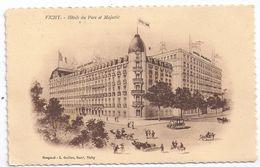 CPA Illustrée Vichy Allier 03 Hôtel Du Parc Et Hôtel Majestic éditeur Bougarel L Guillon écrite Timbrée 1925 - Vichy