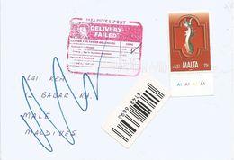 Maldives 2008 Qormi Returned Instructional Handstamp Delivery Failed Cover From Malta - Maldiven (1965-...)