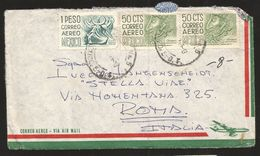 A) 1964 MEXICO, MULTIPLE STAMPS, PUEBLA, DANCE OF THE HALF MOON, ARCHEOLOGY CHIAPAS, AIRMAIL, CIRCULATED COVER FROM MEXI - Mexico