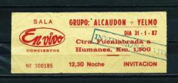 ALCAUDÓN / YELMO  (1987) - Concert Tickets