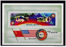 Bhutan (Sc # 183a), MNH, (Souvenir Sheet Of 1) Apollo-Souyz Space Mission  (1975) - Bhutan