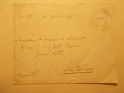 Marcophilie  Cachet Lettre Obliteration Timbre   - Prefecture Maritime Du 5ème Arrt  - 1915 (1042) - Marcophilie (Lettres)