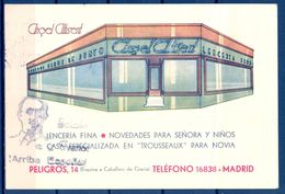 1939 , MADRID , TARJETA PUBLICITARIA ANGEL ALTISENT , LENCERIA FINA , GENEROS DE PUNTO , CIRCULADA , CENSURA - Tiendas