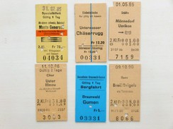 SUISSE / SCHWEIZ / SWITZERLAND // Lot: 14 Fahrkarten (Bahn / Bus / ....), Ca.1982-90, Unterschiedliche Systeme - Titres De Transport