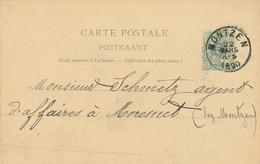 YY451 - CANTONS DE L'EST - Entier Postal Lion Couché MONTZEN 1890 à MORESNET - Origine Manuscrite GEMMENICH - Entiers Postaux