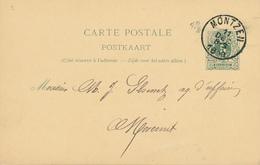 YY452 - CANTONS DE L'EST - Entier Postal Lion Couché MONTZEN 1890 à MORESNET - Origine Manuscrite WELKENRAEDT - Entiers Postaux