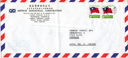 Taiwan Air Mail Cover Sent To Denmark (bended Cover) - 1945-... Republic Of China