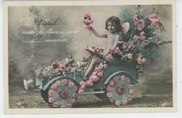 """VESOUL - Jolie Carte Fantaisie Enfant Angelot Dans Automobile Fleurie """"De Vesoul, Recevez Des Fleurs ..."""" - Vesoul"""