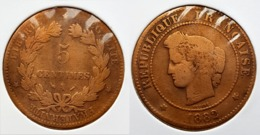 ♕  Belle Pièce 5 Centimes CÉRÈS Bronze 1882 A  ♕ - France