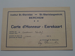 St. STANISLAS Instituut / Gesticht BERCHEM ( Leclef ) Anno 1922 ( Carte D'Honneur - Eerekaart ) PK : Rome / Italy !! - Ecoles