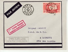 Lettre-Senegal-Dakar Pour Djibouti-19 Fevrier 1937. - Sénégal (1887-1944)