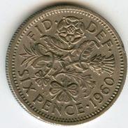 Grande Bretagne Great Britain 6 Pence 1960 KM 903 - H. 6 Pence