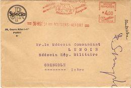 France 1951 - Lettre De Specia/Rhône-Poulenc) Au Médecin Commandant De L' Hôpital Militaire à Grenoble - Flamme  Pub RP - France