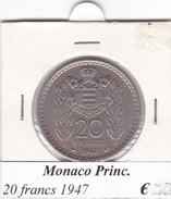 MONACO   20 FRANCS   ANNO 1947  COME DA FOTO - 1922-1949 Luigi II
