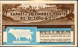 23924 France,carnet De 20 Timbres Semeuse, Dulcrem Exquise Vonfiture De Lait - Commemoratives