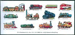 TRAINS -  VINTAGE STICKERS By  SHACKMAN   - 1976  -  SHEET W/12 - Railway