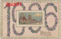 Bonne Année / 1906 / Jolie Carte Gauffée / Fleurs, Village - Nouvel An