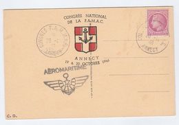 1946 Annecy FAMAC Congress EVENT COVER (postcard PORT, SHIP, CASTLE) With FAMMAC Label Stamps - France