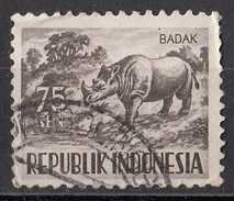 431 Indonesia 1956 Rhino Rionceronte Asiatico Used - Rhinozerosse