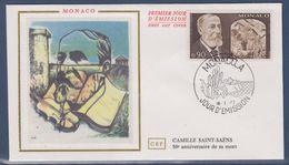 = Monaco Camille Saint Saëns 50ème Anniversaire De Sa Mort Enveloppe 1er Jour 18.1.72 N°869 - FDC
