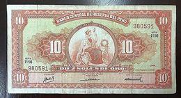 C) PERU BANK NOTES 10 SOLES DE ORO (1968) CIRCULATED - Pérou