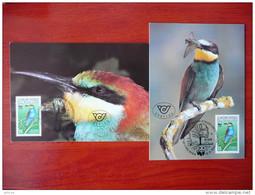WWF Österreich Austria Bienenfresser Bee-eater 1988 2 MC CM MK Carte Maximum Maximumkarte Maxicard - Maximumkarten