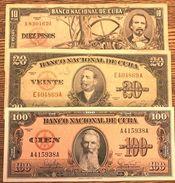 C) CUBA-CARIBEAN BANK NOTES 3 PCS, 10+20+100 (1949,1956,1960) - Cuba
