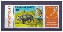 Tschad, Mi-Nr. 829 Zusammendruck Mit Zierfeld, **, 1978, Philexafrique II 1979 - Rhinozerosse
