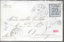 ALSACE LORRAINE GUERRE DE 1870-71 ENVELOPEE CIRCULEE AVEC YVERT TELLIER NR. 6  - AVEC TAXE TAXED FULL CONTENT INSIDE - Alsace-Lorraine