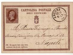 0860 01 ANCONA X NAPOLI 1874 - Ganzsachen