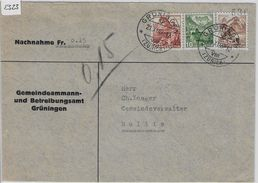 1949 Landschaft Paysages 285-287/500-502 Nachnahme Von Grüningen To Mollis 21.XI.49 - Brieven En Documenten