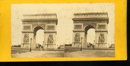 Paris Arc De Triomphe De L'étoile Photographie Stéréoscopique Photo Stéréo XIXe Collée Sur Carton - Stereoscopic