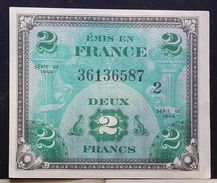 Lotto 2 Banconote 2 E 5 Franchi Occupazione Americana 1944 - 1944 Flagge/Frankreich