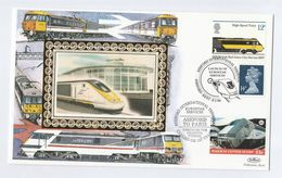 1996 CARRIED By FIRST EUROSTAR CHANNEL TUNNEL SERVICE TRAIN From  ASHFORD To PARIS France Railway Letter Stamp Gb Cover - Trains