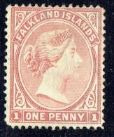 1882  Victoria 1 D. Dull Claret  Wmk Crown CA Upright  SG 5  Used - Falkland Islands