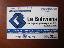 Tamura Phonecard,BOL-TE-10 La Boliivianna Insurance Co. Brown Reverse,used With One Hole - Bolivia