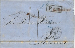"""1860- Letter From RIGA To Reims ( France )  """" Aus Russland + P.35 . Framed  + French Entrance Prusse A Erquelines Black - Lettonie"""