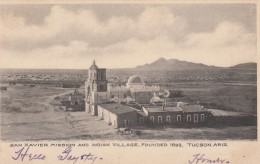 Tucson Arizona, San Xavier Mission And Indian Village, Territorial Era, C1900s Vintage Postcard - Tucson