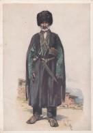 Caucasus Caucasian Ethnic Fashion Artist Image, Man In Hat With Knife, C1930s Vintage Postcard - Fashion